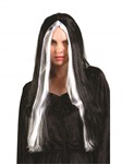 "24"" Witch Wig-Black w/grey stripes"